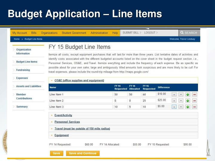 Budget Application – Line Items