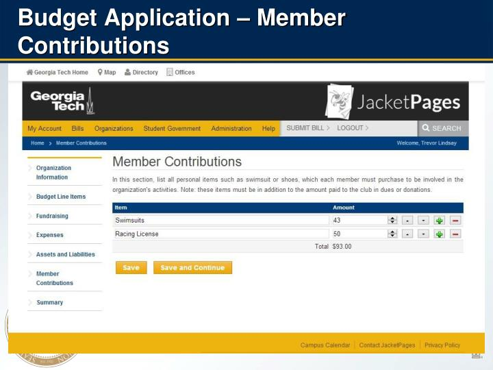 Budget Application – Member Contributions