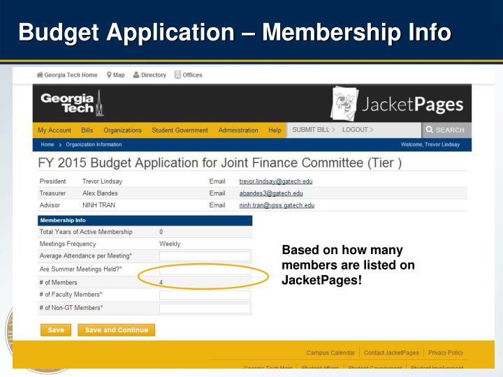 Budget Application – Membership Info