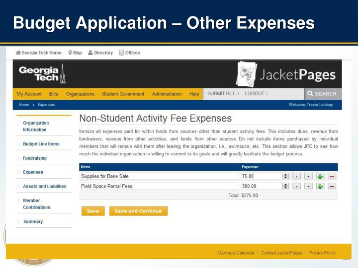 Budget Application – Other Expenses