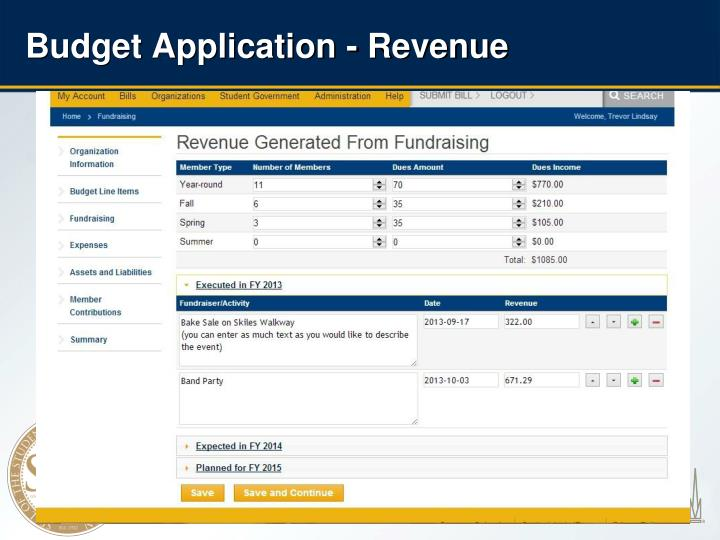 Budget Application - Revenue
