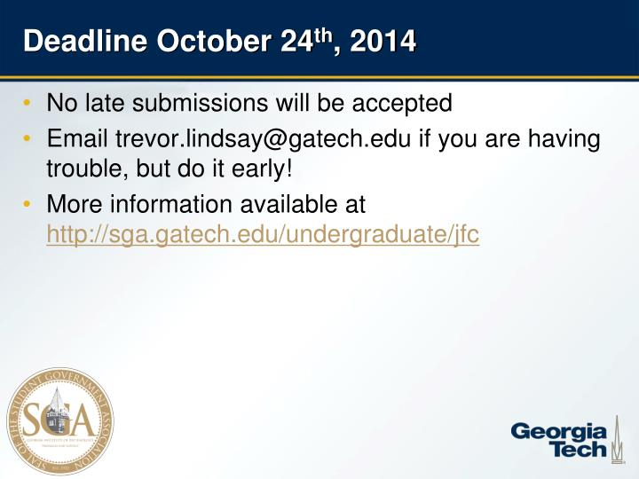 Deadline October