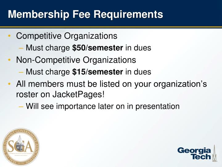 Membership Fee Requirements