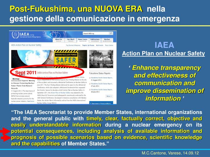 Post-Fukushima, una NUOVA ERA