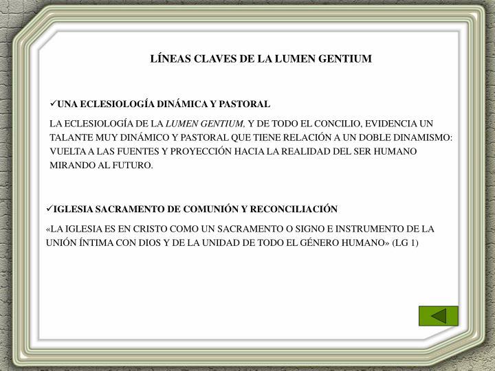 LÍNEAS CLAVES DE LA LUMEN GENTIUM