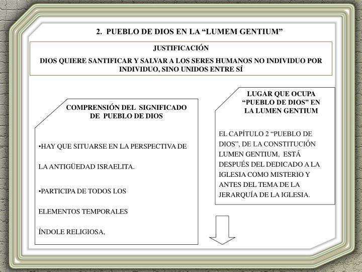 """EL CAPÍTULO 2 """"PUEBLO DE DIOS"""", DE LA CONSTITUCIÓN LUMEN GENTIUM,  ESTÁ DESPUÉS DEL DEDICADO A LA IGLESIA COMO MISTERIO Y ANTES DEL TEMA DE LA JERARQUÍA DE LA IGLESIA."""