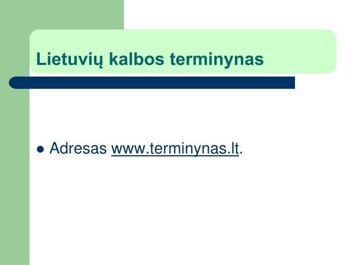 Lietuvių kalbos terminynas