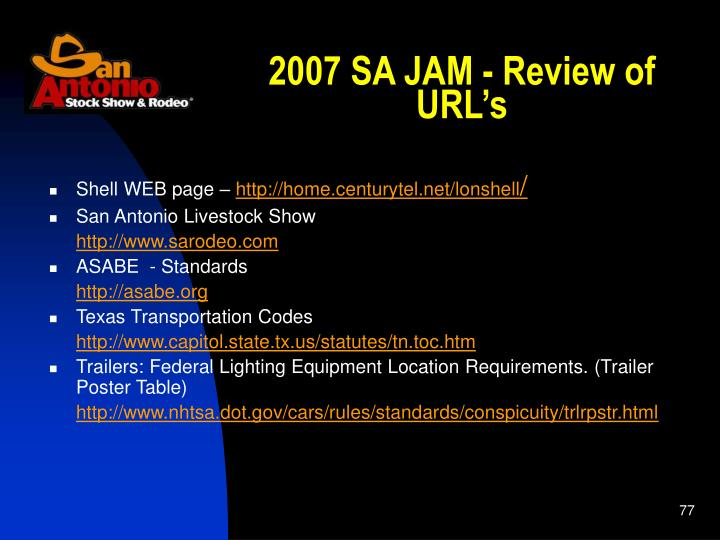 2007 SA JAM - Review of URL's