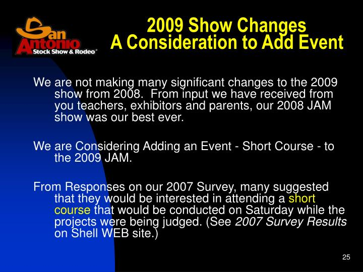 2009 Show Changes