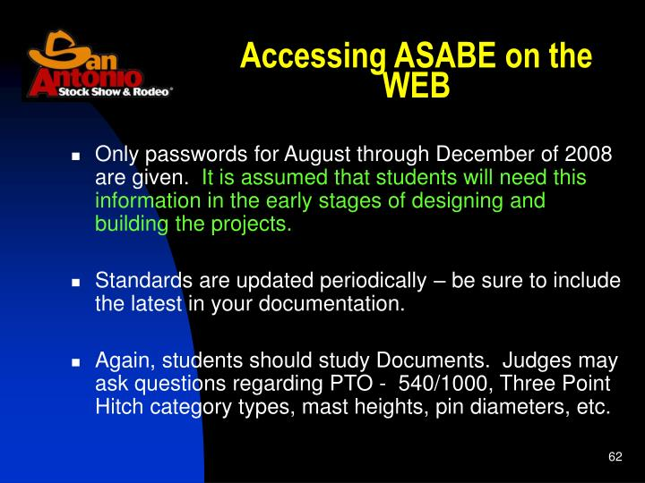 Accessing ASABE on the WEB