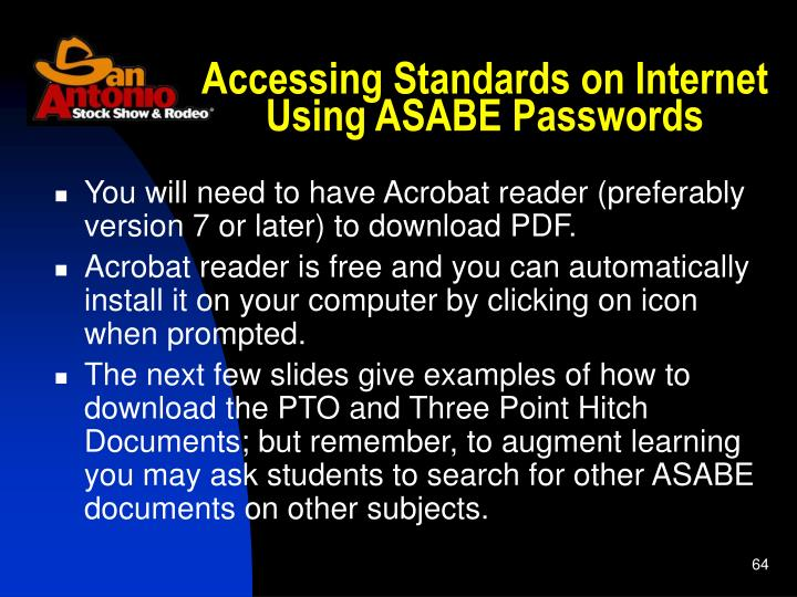 Accessing Standards on Internet Using ASABE Passwords