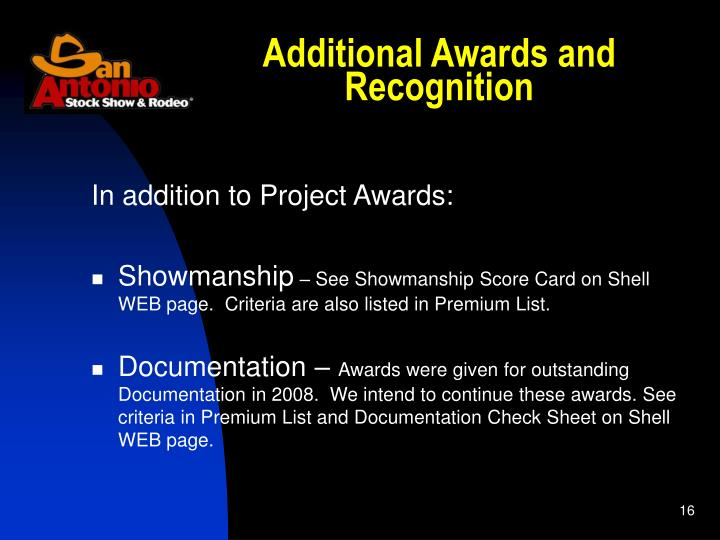 Additional Awards and Recognition