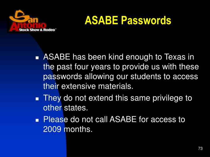 ASABE Passwords