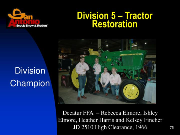 Division 5 – Tractor Restoration