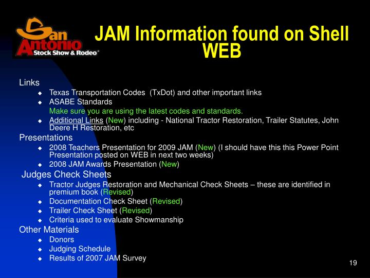 JAM Information found on Shell WEB
