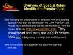 overview of special rules identified in premium list