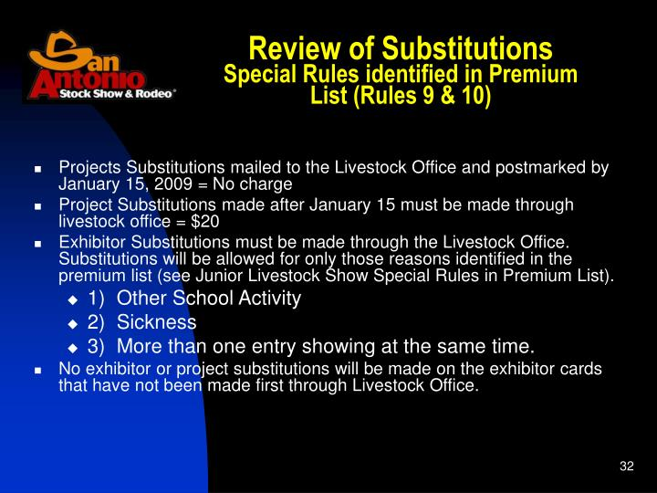 Review of Substitutions