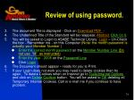 review of using password