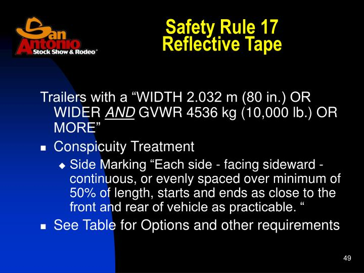 Safety Rule 17
