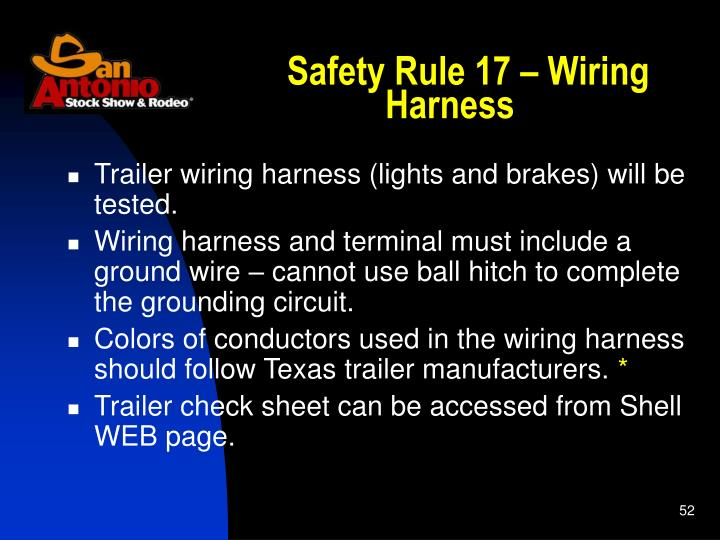Safety Rule 17 – Wiring Harness