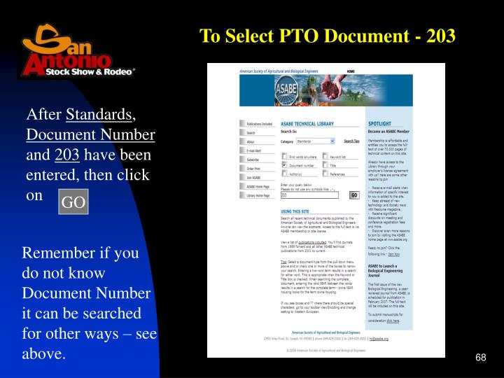 To Select PTO Document - 203