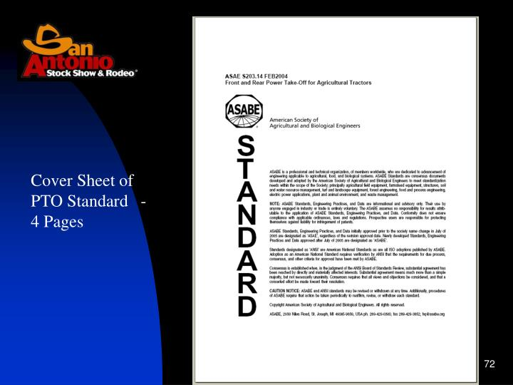 Cover Sheet of PTO Standard   -   4 Pages