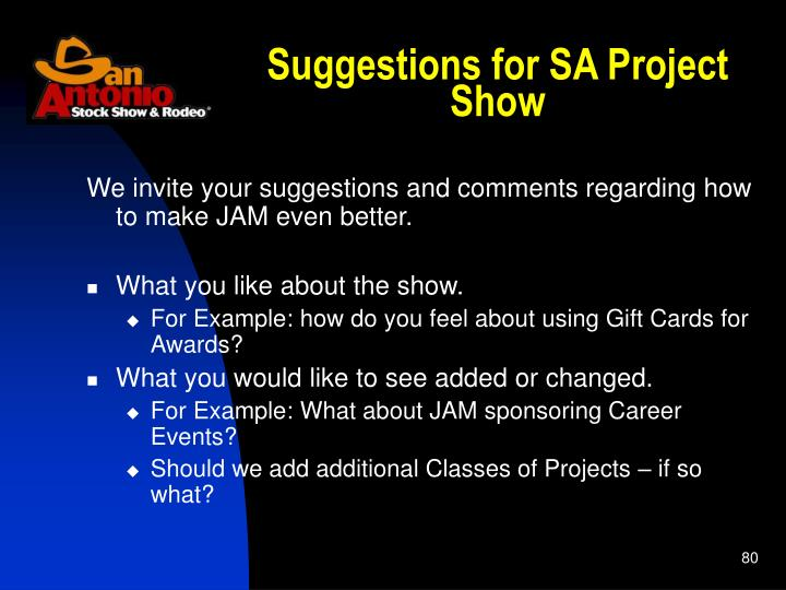 Suggestions for SA Project Show