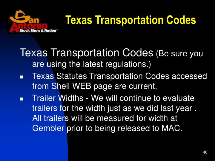 Texas Transportation Codes
