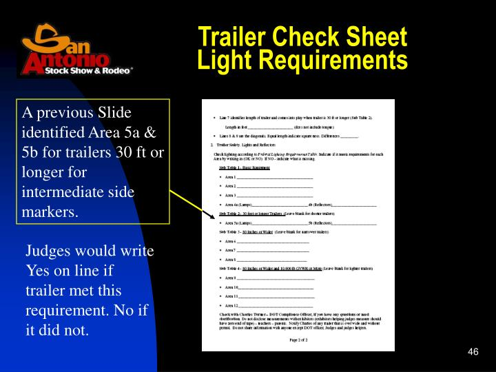 Trailer Check Sheet