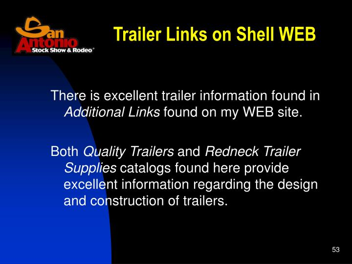Trailer Links on Shell WEB