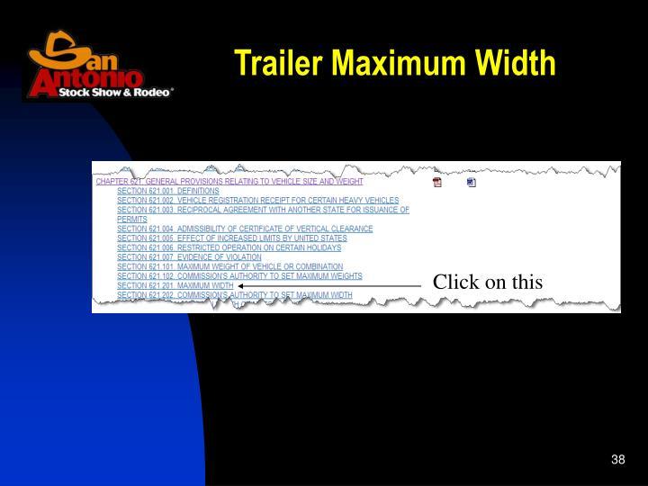 Trailer Maximum Width