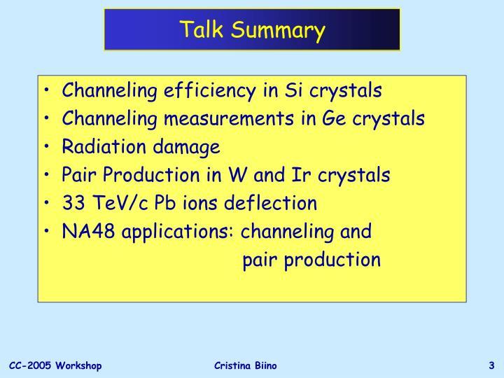 Talk Summary