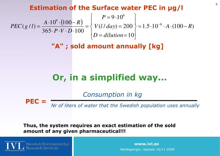 Estimation of the Surface water PEC in µg/l
