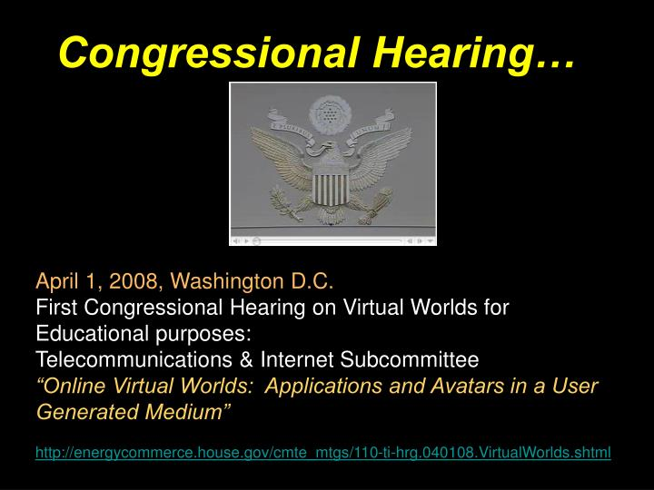 Congressional Hearing…