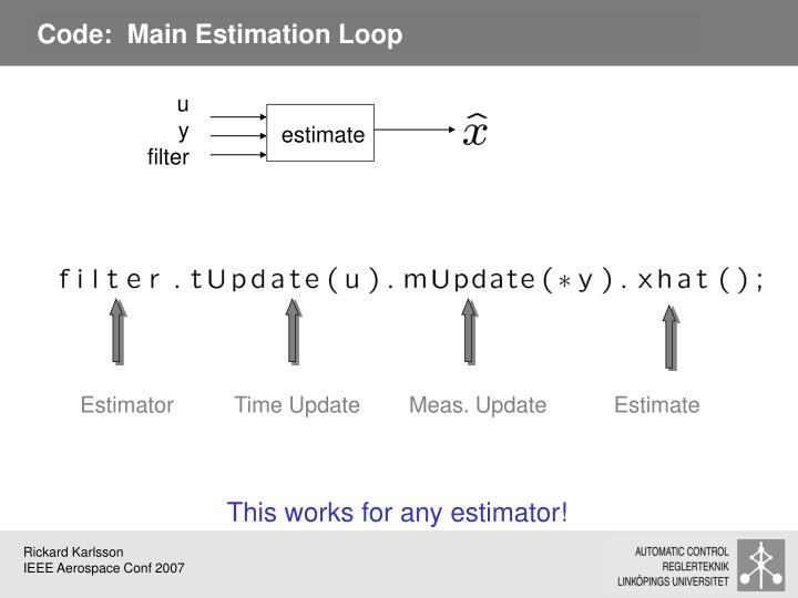 Code:  Main Estimation Loop