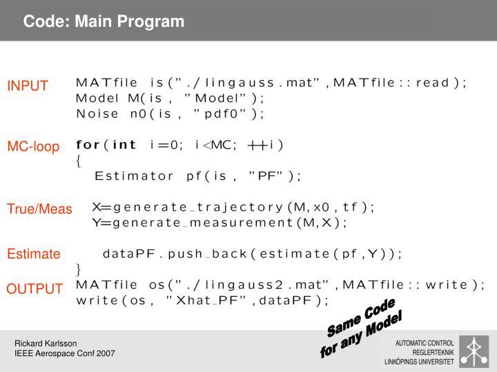 Code: Main Program