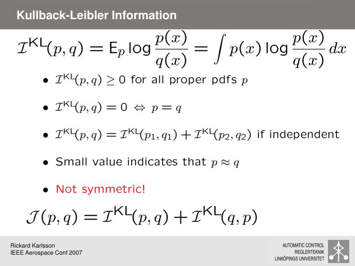 Kullback-Leibler Information