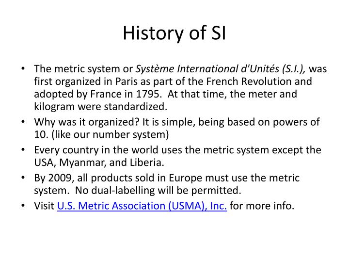 History of SI
