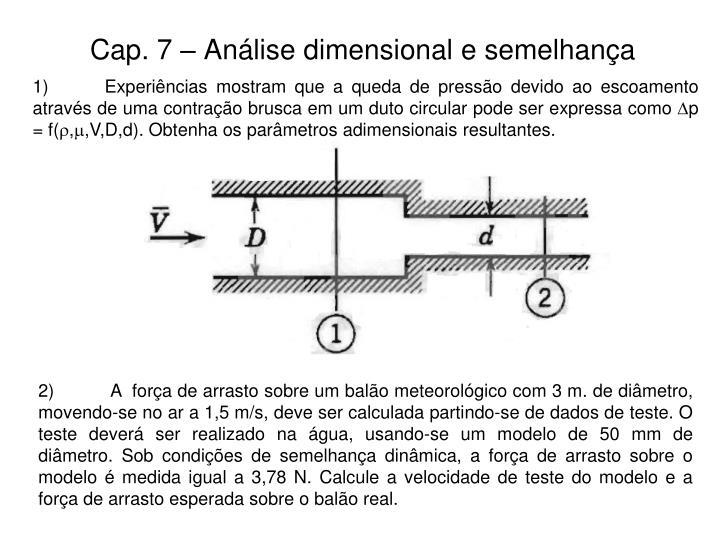 Cap. 7 – Análise dimensional e semelhança