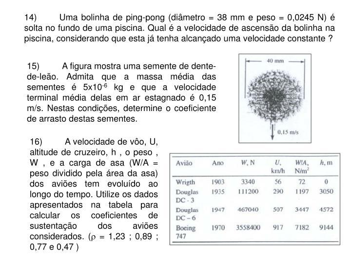 14)Uma bolinha de ping-pong (diâmetro = 38 mm e peso = 0,0245 N) é solta no fundo de uma piscina. Qual é a velocidade de ascensão da bolinha na piscina, considerando que esta já tenha alcançado uma velocidade constante ?