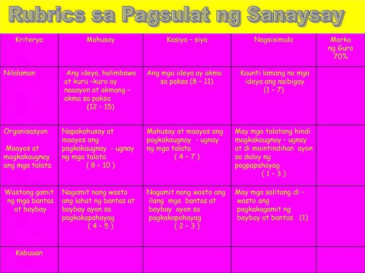 Rubrics sa Pagsulat ng Sanaysay