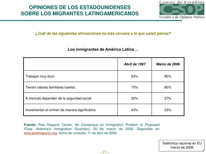 Los inmigrantes de América Latina…