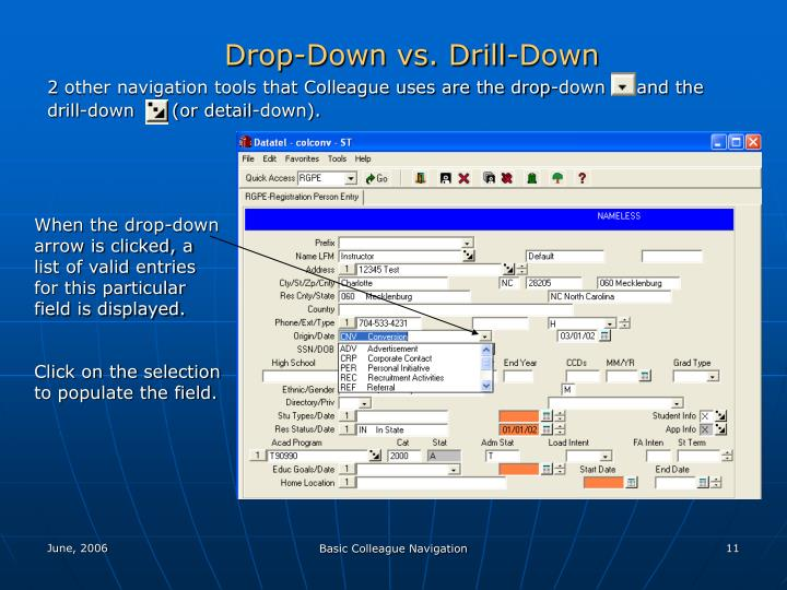 Drop-Down vs. Drill-Down
