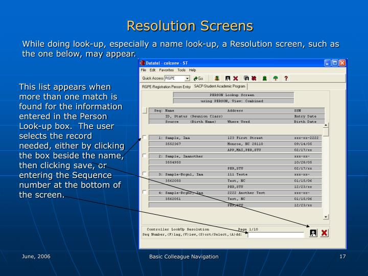 Resolution Screens