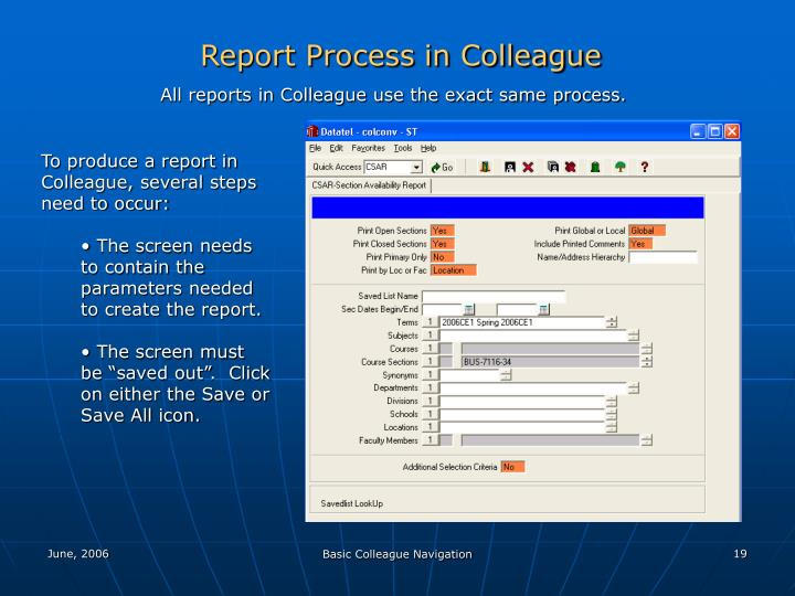 Report Process in Colleague
