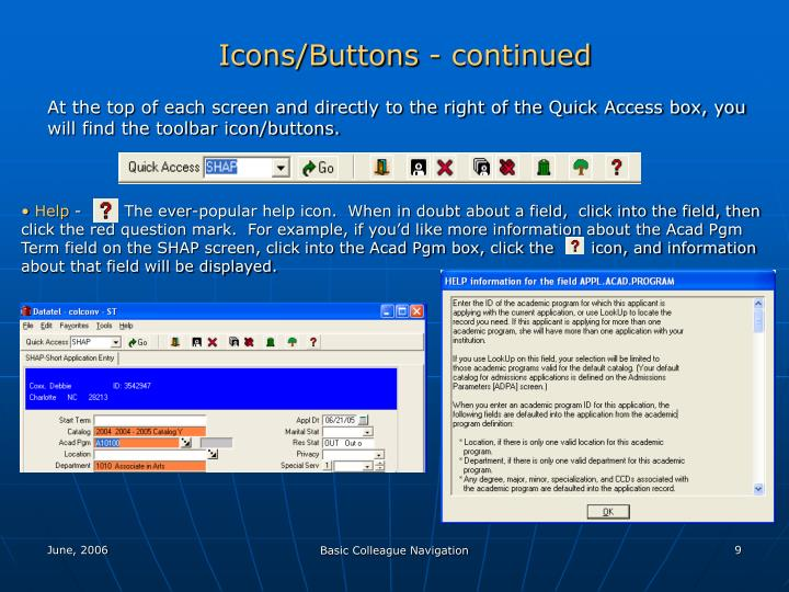 Icons/Buttons - continued