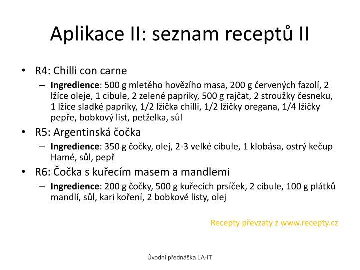 Aplikace II: seznam receptů II