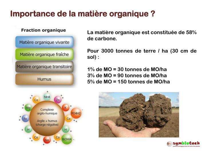Importance de la matière organique ?
