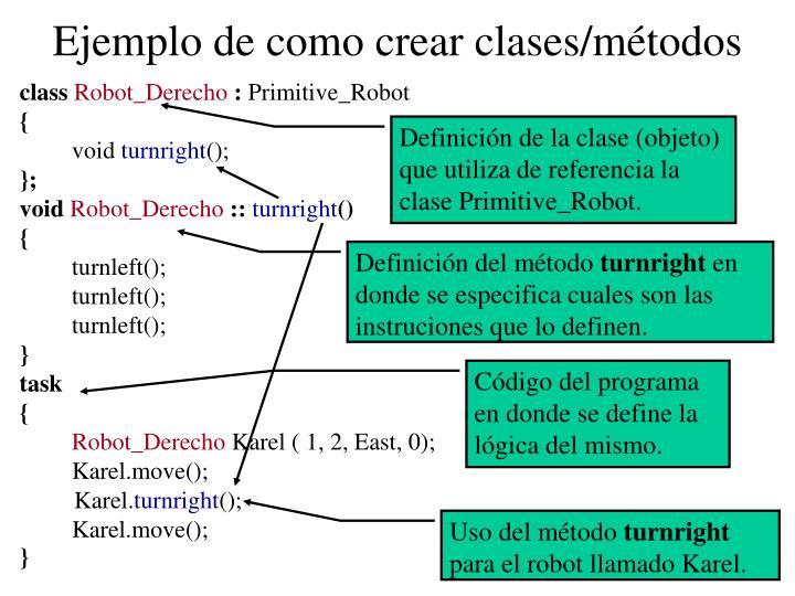 Ejemplo de como crear clases/métodos