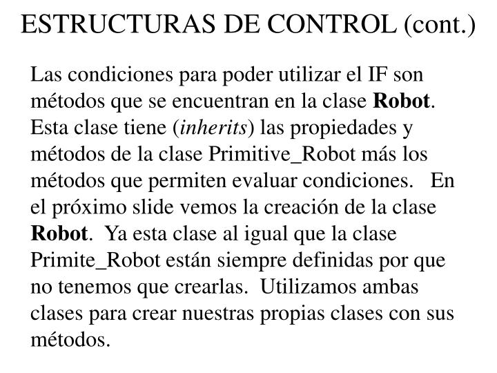 ESTRUCTURAS DE CONTROL (cont.)